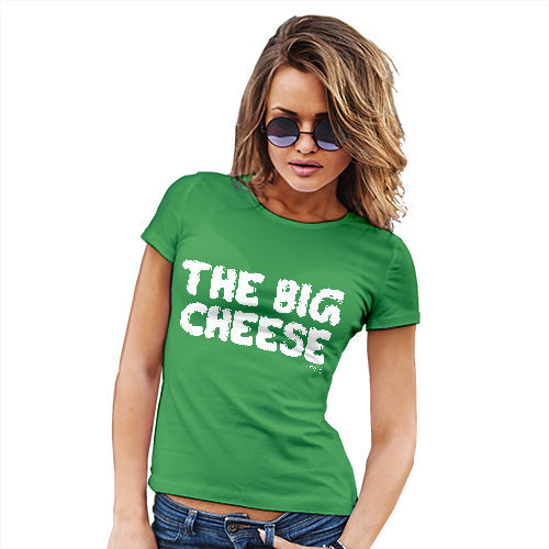 Funny T Shirts For Mum The Big Cheese Women's T-Shirt X-Large Green