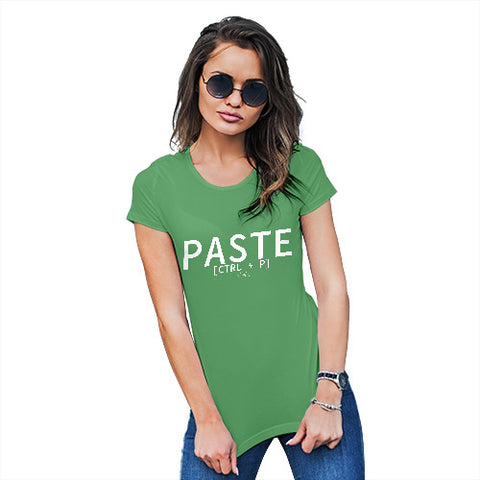 Novelty Tshirts Women Paste CTRL + P Women's T-Shirt X-Large Green