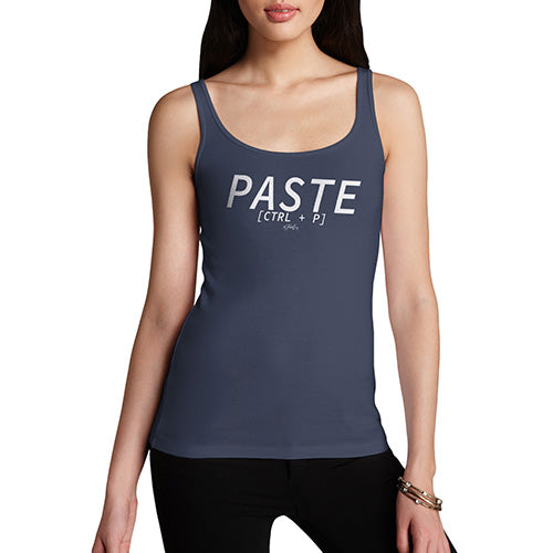 Women Funny Sarcasm Tank Top Paste CTRL + P Women's Tank Top Medium Navy