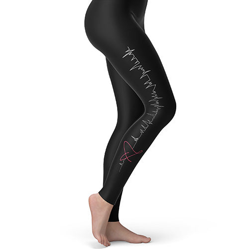 Women's Leggings Yoga EKG Heartbeat Medium Black