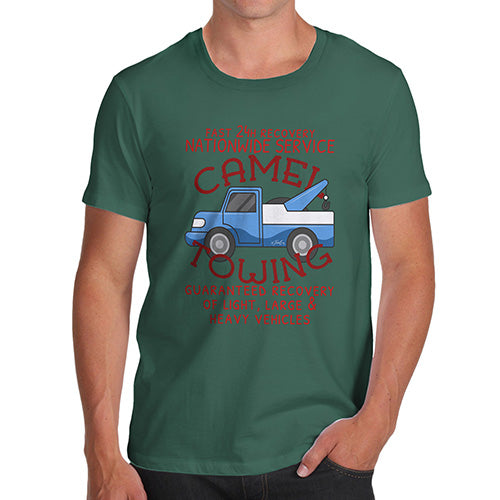 Funny Mens T Shirts Camel Towing Men's T-Shirt X-Large Bottle Green