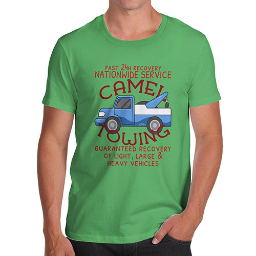 Mens Novelty T Shirt Christmas Camel Towing Men's T-Shirt Small Green