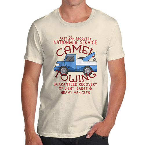 Funny T-Shirts For Guys Camel Towing Men's T-Shirt Medium Natural