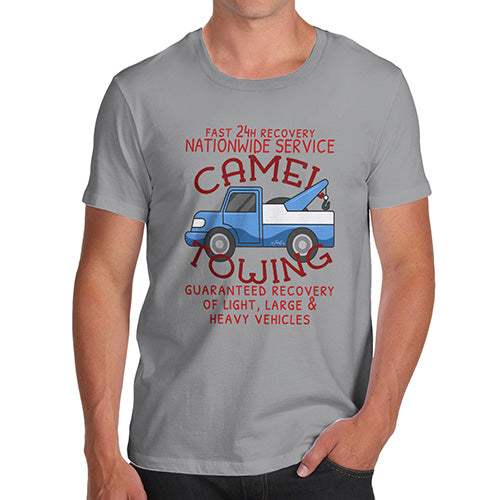 Funny Tee Shirts For Men Camel Towing Men's T-Shirt Small Light Grey