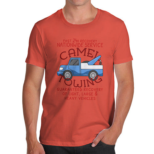 Funny Tshirts For Men Camel Towing Men's T-Shirt Large Orange
