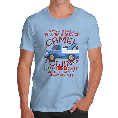 Mens Funny Sarcasm T Shirt Camel Towing Men's T-Shirt Small Sky Blue