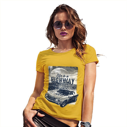 Womens T-Shirt Funny Geek Nerd Hilarious Joke Life Is A Highway Women's T-Shirt X-Large Yellow