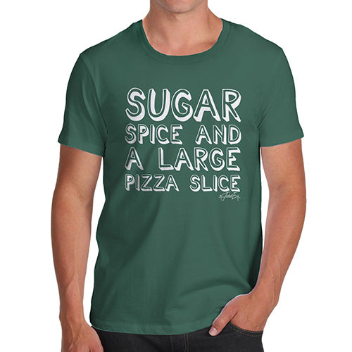 Mens Novelty T Shirt Christmas Sugar Spice Pizza Slice Men's T-Shirt Small Bottle Green
