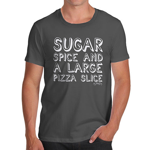Funny Mens T Shirts Sugar Spice Pizza Slice Men's T-Shirt Medium Dark Grey