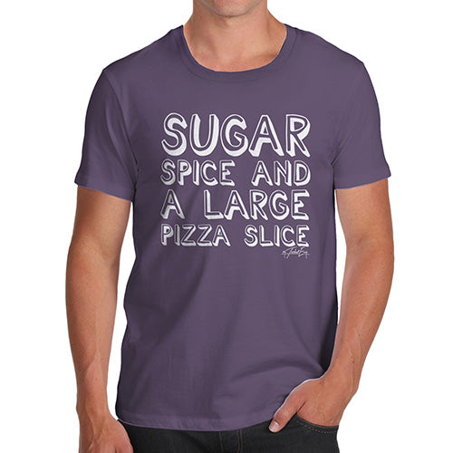 Funny T Shirts For Men Sugar Spice Pizza Slice Men's T-Shirt Medium Plum