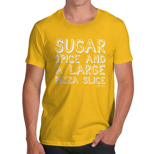 Funny Mens T Shirts Sugar Spice Pizza Slice Men's T-Shirt Large Yellow