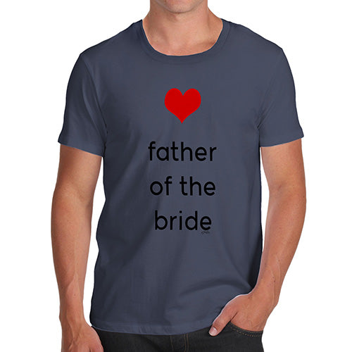 Funny Mens T Shirts Father Of The Bride Heart Men's T-Shirt Medium Navy