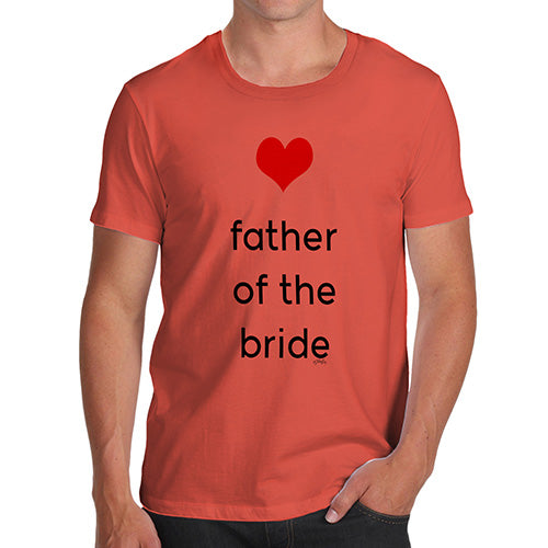 Funny Mens T Shirts Father Of The Bride Heart Men's T-Shirt Medium Orange