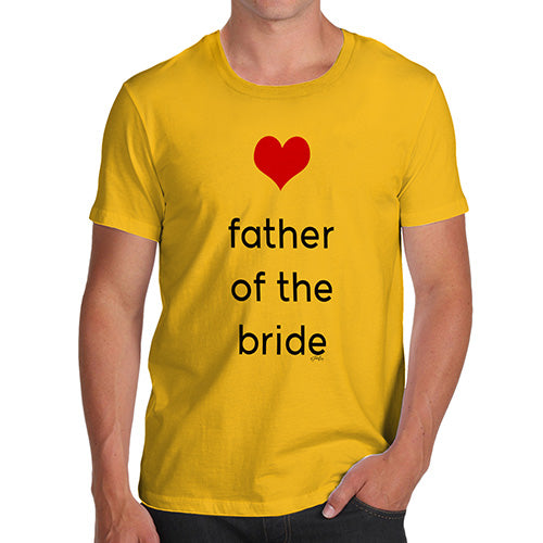 Funny Mens Tshirts Father Of The Bride Heart Men's T-Shirt X-Large Yellow