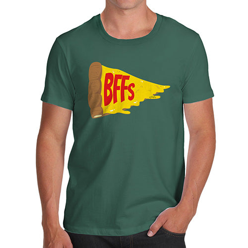 Novelty T Shirts For Dad Pizza BFFs Men's T-Shirt Large Bottle Green