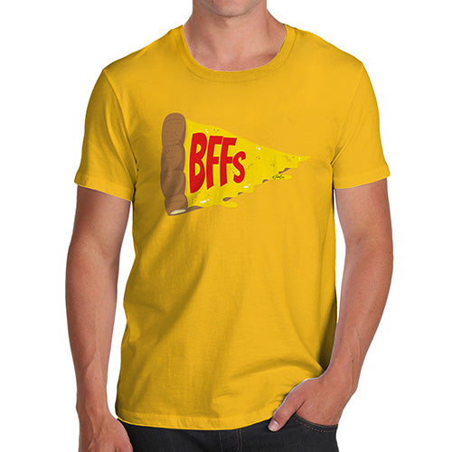 Funny Tee For Men Pizza BFFs Men's T-Shirt Medium Yellow