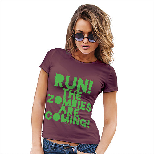 Funny Tshirts For Women Run The Zombies Are Coming Women's T-Shirt Medium Burgundy