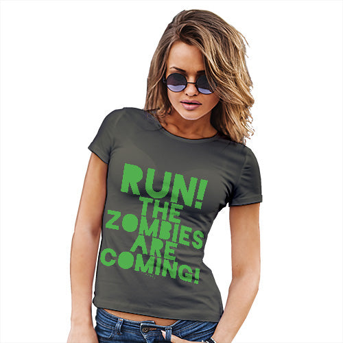 Funny Gifts For Women Run The Zombies Are Coming Women's T-Shirt X-Large Khaki