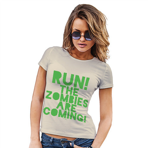 Womens Novelty T Shirt Christmas Run The Zombies Are Coming Women's T-Shirt X-Large Natural