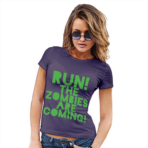 Womens T-Shirt Funny Geek Nerd Hilarious Joke Run The Zombies Are Coming Women's T-Shirt Small Plum