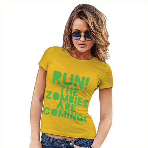 Funny Shirts For Women Run The Zombies Are Coming Women's T-Shirt Large Yellow