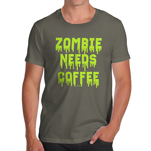 Novelty Tshirts Men Zombie Needs Coffee Men's T-Shirt Large Khaki