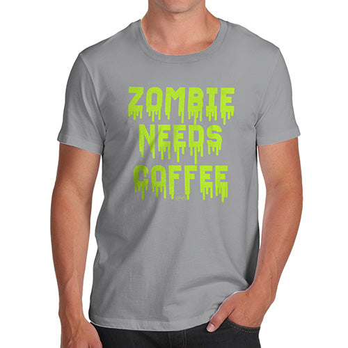 Mens T-Shirt Funny Geek Nerd Hilarious Joke Zombie Needs Coffee Men's T-Shirt Medium Light Grey