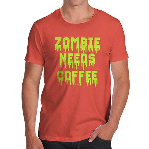 Funny T-Shirts For Men Zombie Needs Coffee Men's T-Shirt X-Large Orange