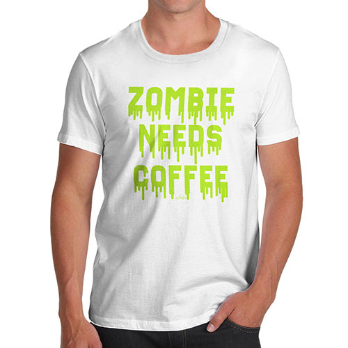 Funny Mens T Shirts Zombie Needs Coffee Men's T-Shirt X-Large White