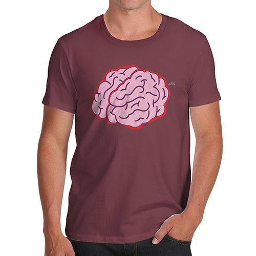 Mens Funny Sarcasm T Shirt Brain Selfie Men's T-Shirt X-Large Burgundy