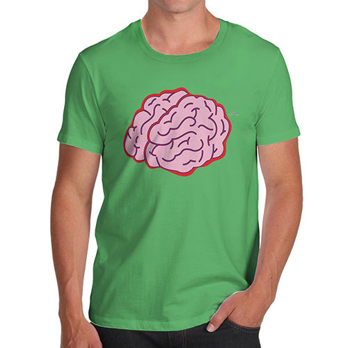 Funny T Shirts For Men Brain Selfie Men's T-Shirt Medium Green