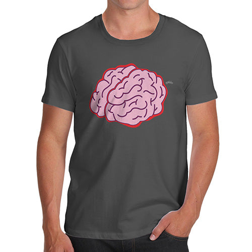 Funny T Shirts For Men Brain Selfie Men's T-Shirt Medium Dark Grey