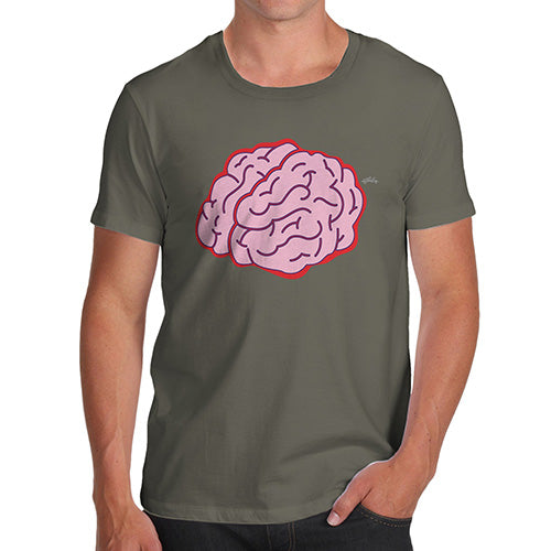 Funny Tee Shirts For Men Brain Selfie Men's T-Shirt Small Khaki