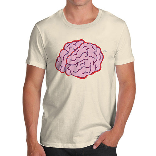 Mens Novelty T Shirt Christmas Brain Selfie Men's T-Shirt X-Large Natural