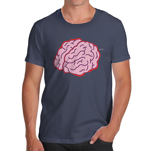 Funny Mens Tshirts Brain Selfie Men's T-Shirt Medium Navy