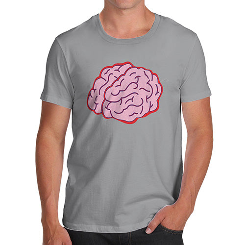 Funny Mens T Shirts Brain Selfie Men's T-Shirt Large Light Grey