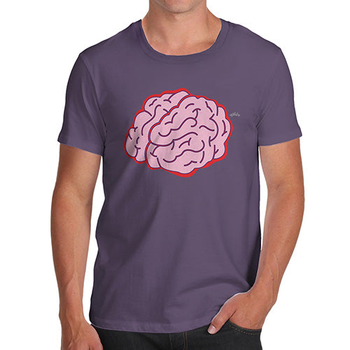 Mens Funny Sarcasm T Shirt Brain Selfie Men's T-Shirt Large Plum