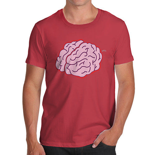 Funny T-Shirts For Men Sarcasm Brain Selfie Men's T-Shirt Medium Red