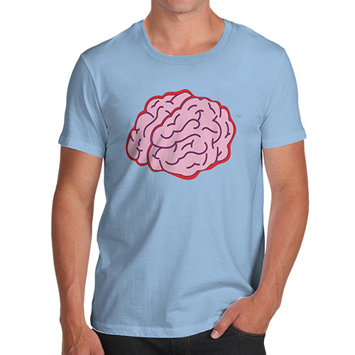 Funny T Shirts For Men Brain Selfie Men's T-Shirt Medium Sky Blue