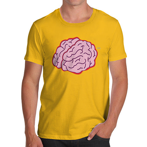 Funny Tee For Men Brain Selfie Men's T-Shirt Small Yellow