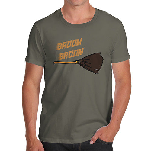 Funny Tee For Men Broom Broom Men's T-Shirt Large Khaki