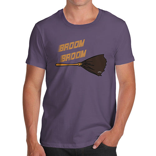 Novelty Tshirts Men Funny Broom Broom Men's T-Shirt Medium Plum