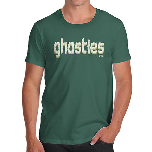 Mens T-Shirt Funny Geek Nerd Hilarious Joke Ghosties  Men's T-Shirt Small Bottle Green