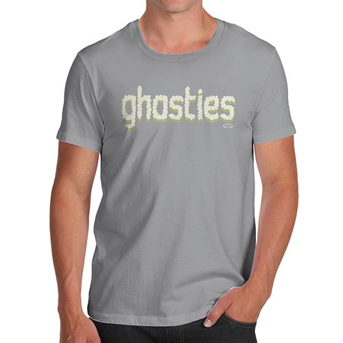 Mens T-Shirt Funny Geek Nerd Hilarious Joke Ghosties  Men's T-Shirt Medium Light Grey