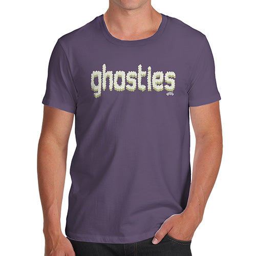 Mens Funny Sarcasm T Shirt Ghosties  Men's T-Shirt Small Plum