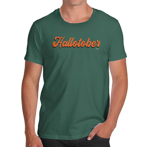 Funny T-Shirts For Men Hallotober Men's T-Shirt Small Bottle Green