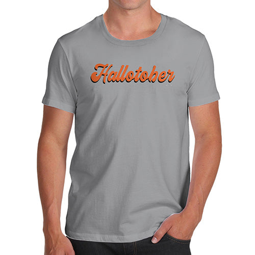 Funny Mens T Shirts Hallotober Men's T-Shirt Small Light Grey
