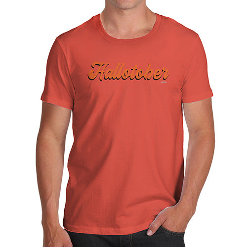 Funny Mens T Shirts Hallotober Men's T-Shirt Medium Orange