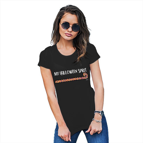 Womens T-Shirt Funny Geek Nerd Hilarious Joke My Halloween Spirit Women's T-Shirt Large Black