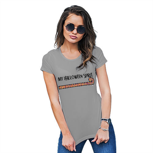 Novelty Tshirts Women My Halloween Spirit Women's T-Shirt Small Light Grey